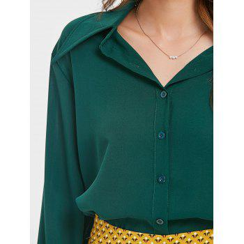 Smocked Puff Sleeve Chiffon Blouse - DARK FOREST GREEN S