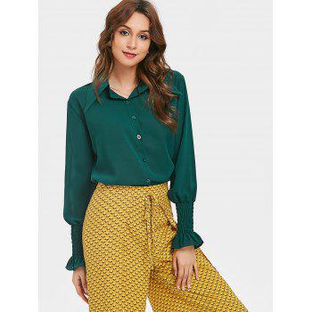 Smocked Puff Sleeve Chiffon Blouse - DARK FOREST GREEN M