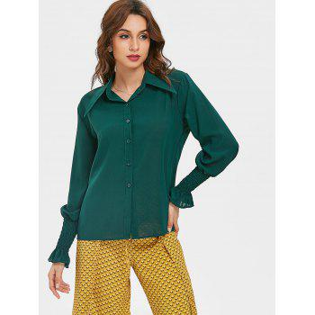 Smocked Puff Sleeve Chiffon Blouse - DARK FOREST GREEN L