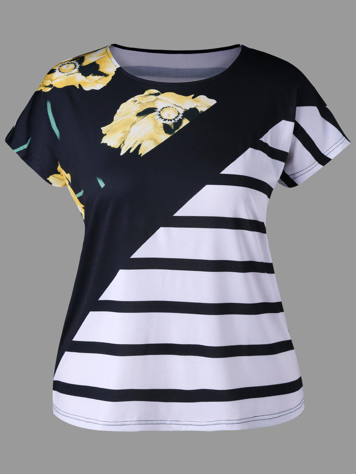Plus Size Flower Striped Tee - COLORMIX 5XL