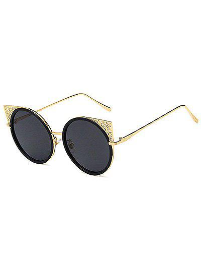 Circle Metal Frame Hollow Out Sunglasses - BLACK