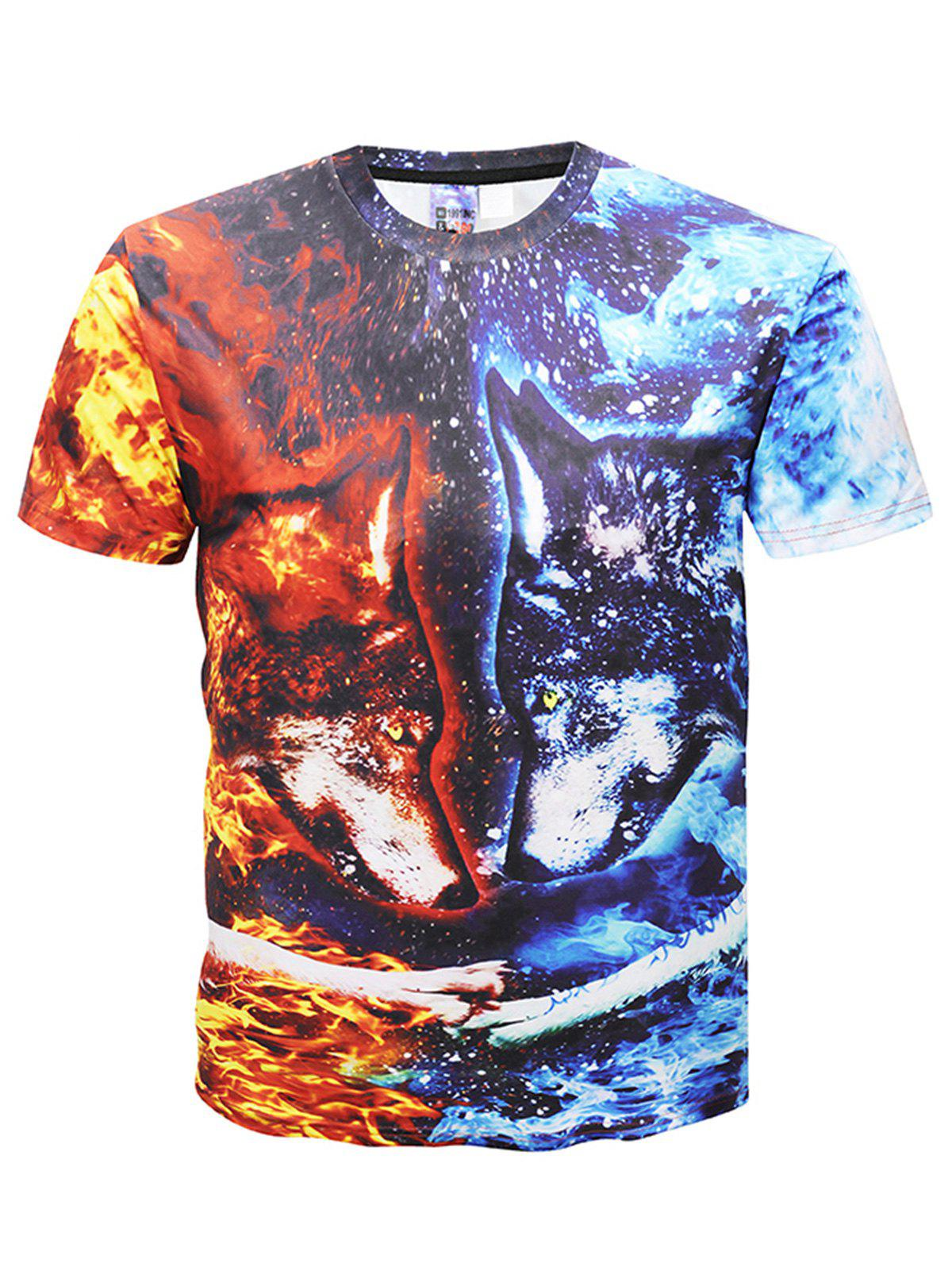 Crew Neck Animal Head Print T-shirt - multicolor 5XL