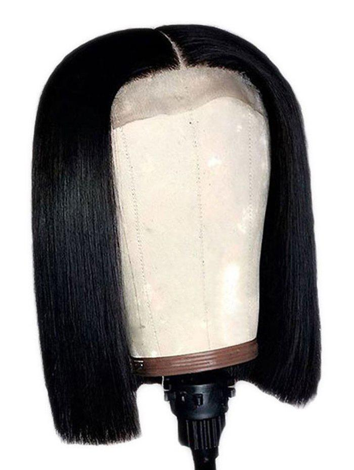 Center Parting Short Straight Bob Synthetic Lace Front Wig - NATURAL BLACK