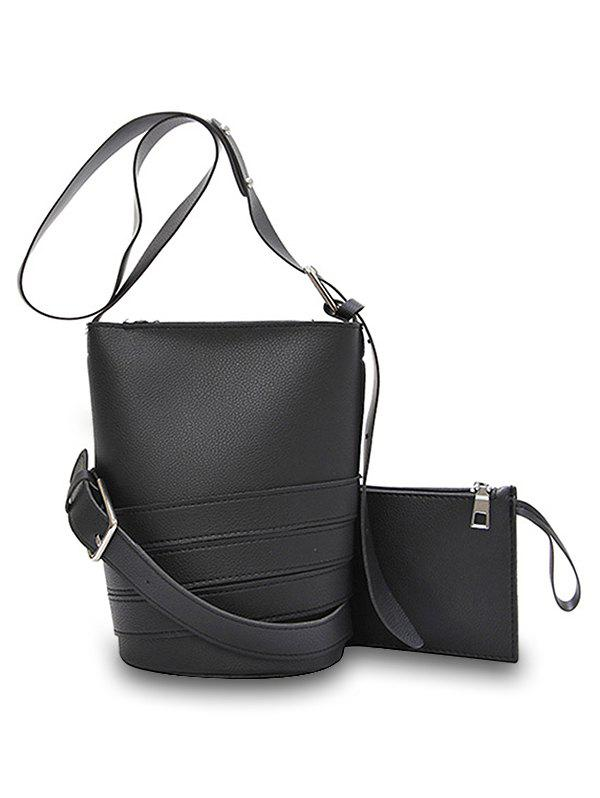 2 Pieces Buckled Strappy Crossbody Bag Set - BLACK