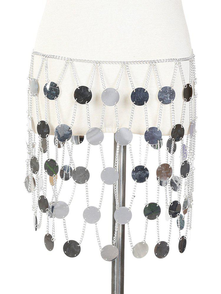 Mirror Discs Body Waist Chain Skirt - SILVER