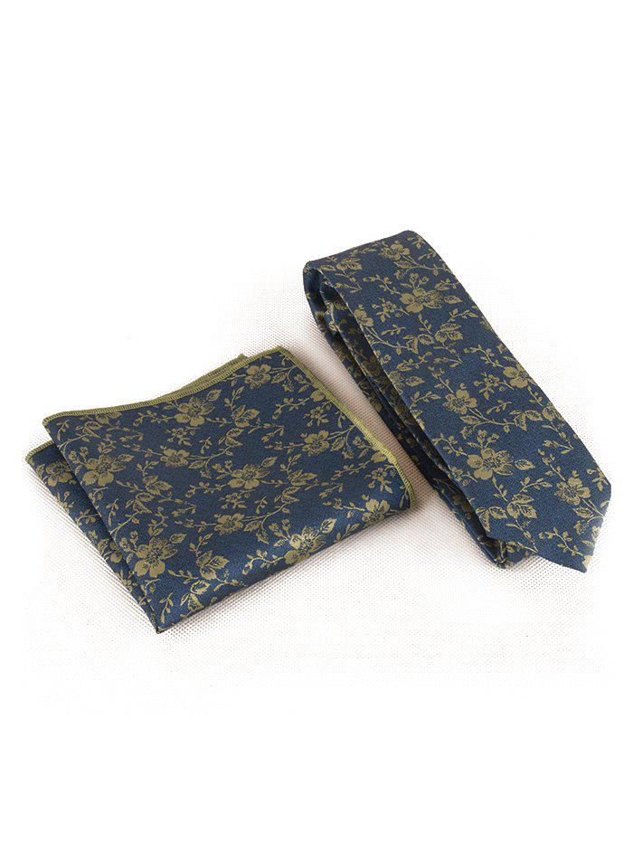 Floral Pattern Business Necktie and Handkerchief Set - BLUE JAY