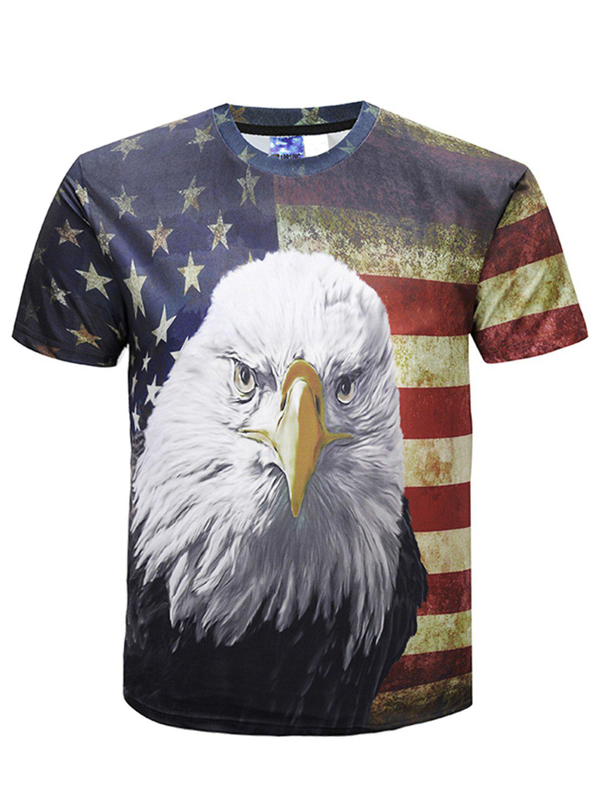 Staring Eagle Pattern Casual T-shirt - multicolor 4XL