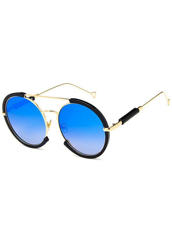 Metal Frame Street Snap Circle Sunglasses - ROYAL BLUE