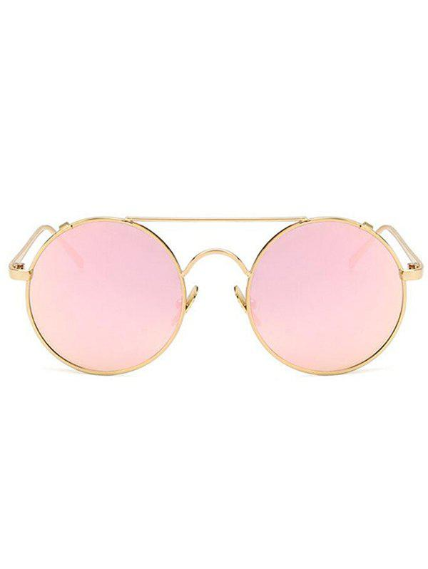 Crossbar Flat Lens Circle Sunglasses - LIGHT PINK