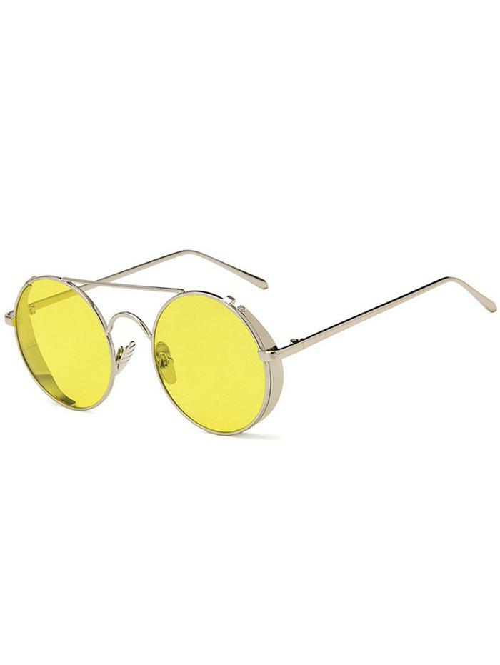 Crossbar Flat Lens Circle Sunglasses - YELLOW