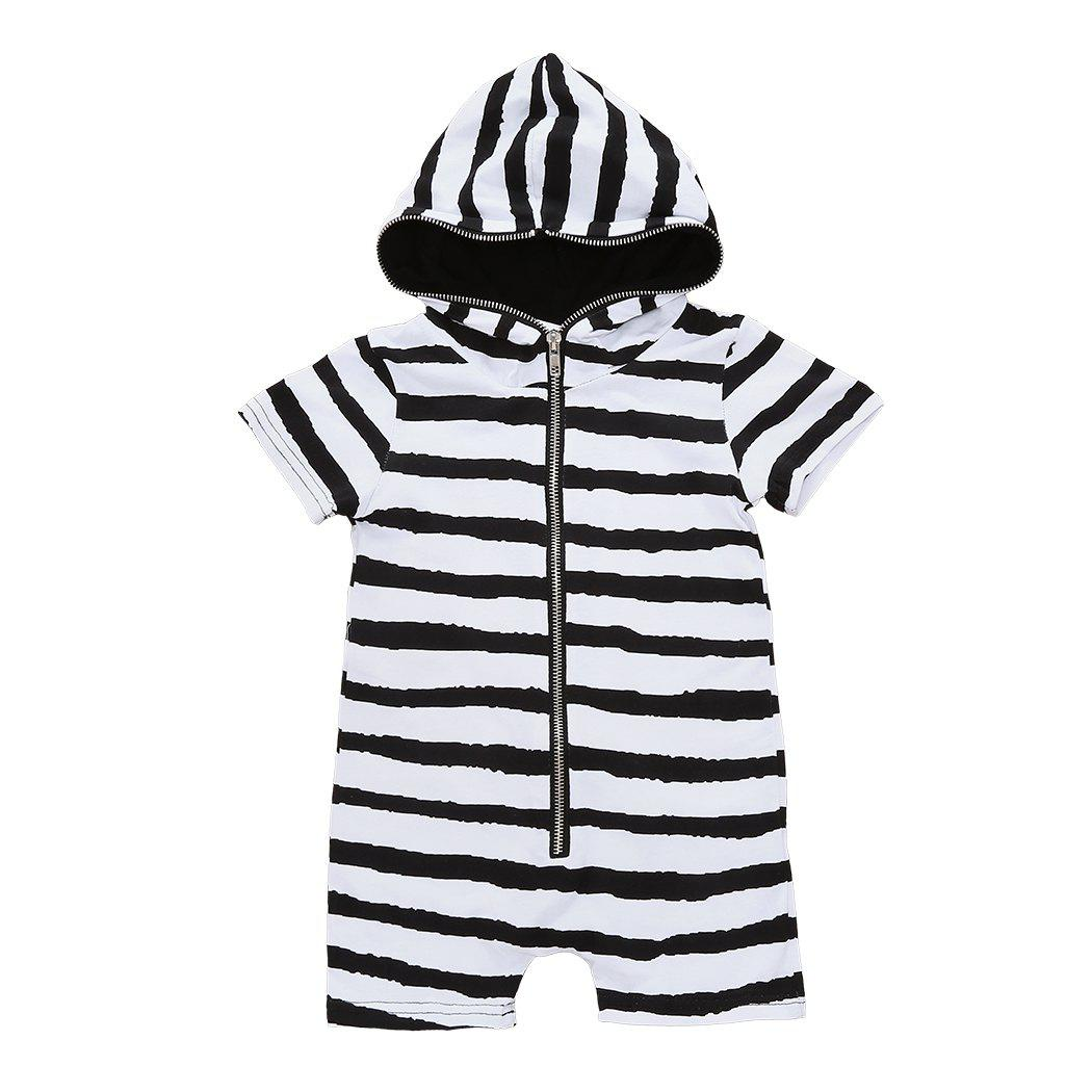 Newborn Infant Baby Boys Girls Hooded Romper Bodysuit Jumpsuit Clothes Outfits - BLACK 70CM