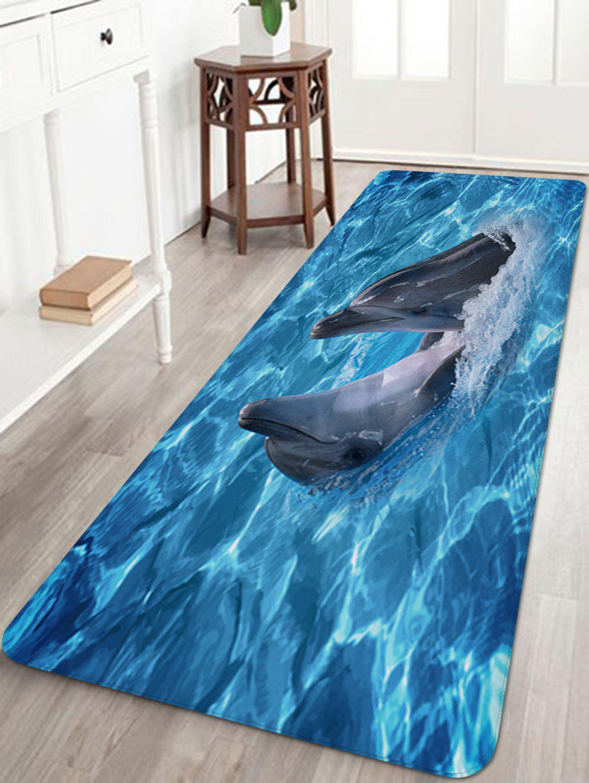 Sea Dolphins Playing Print Nonslip Floor Rug цена 2017