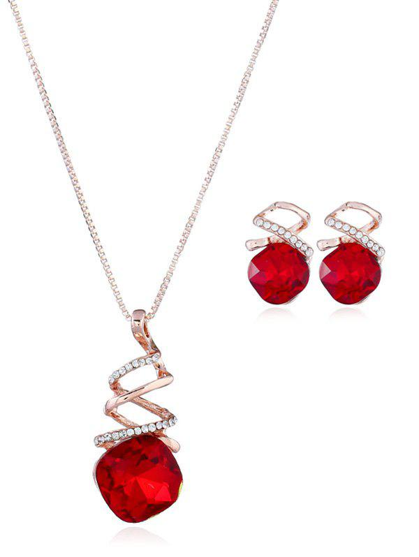 Rhinestone Necklace and Earring Set - RED