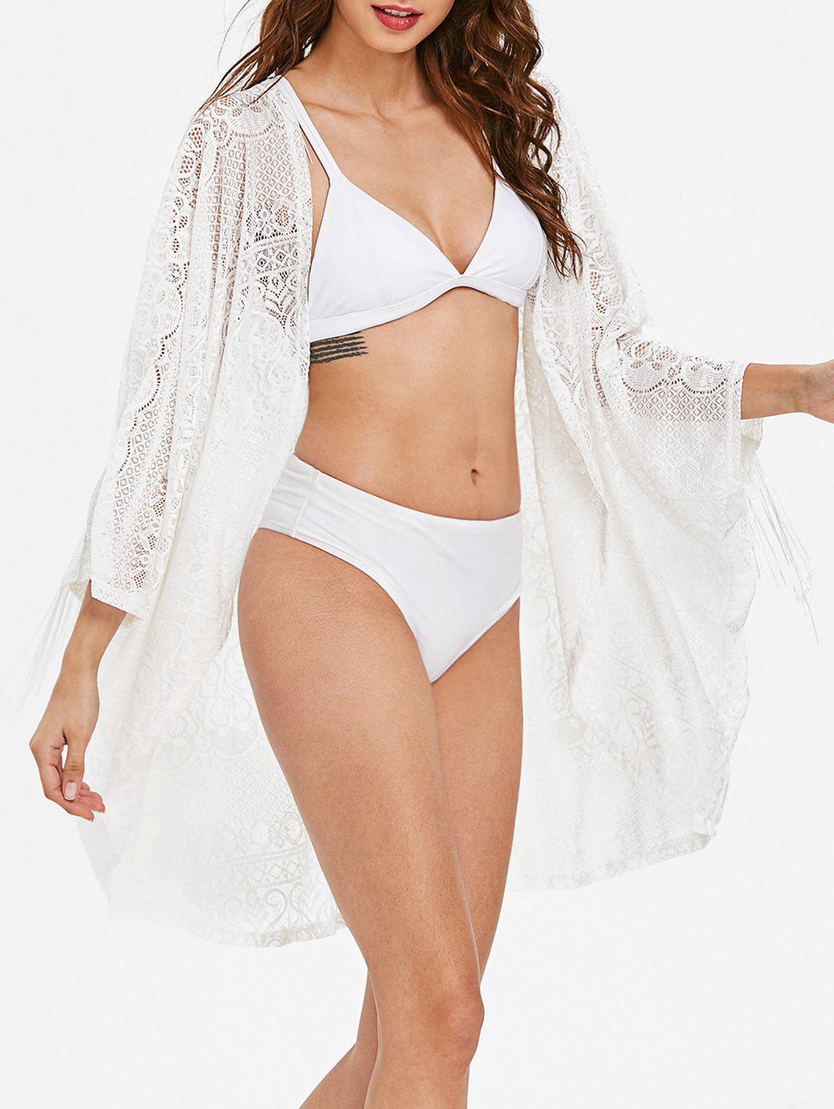 Collarless Fringe Lace Cover Up - WHITE L
