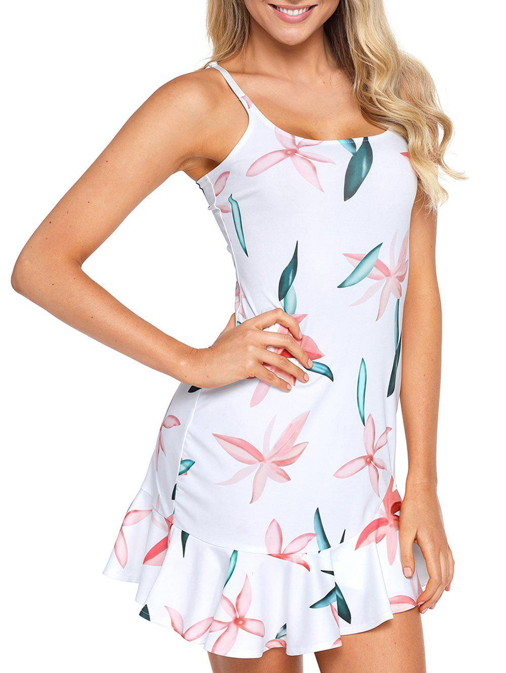 Graphic Mini Slip Dress - GREENISH BLUE 2XL