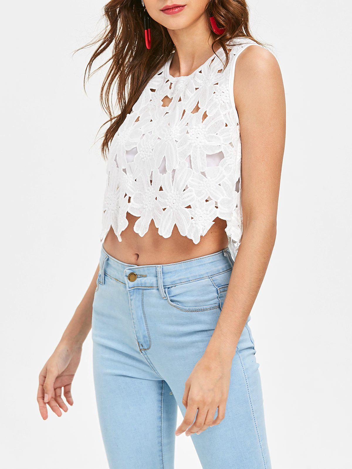 Cropped Lace Hollow Out Tank Top - WHITE S