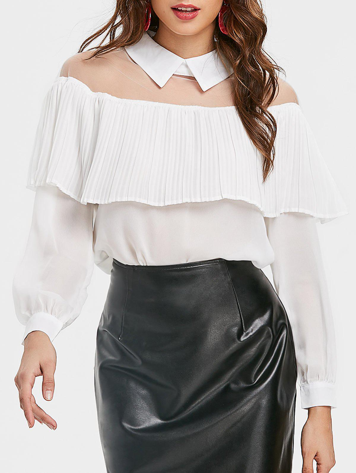 Semi Sheer Mesh Panel Ruffle Chiffon Blouse - WHITE L