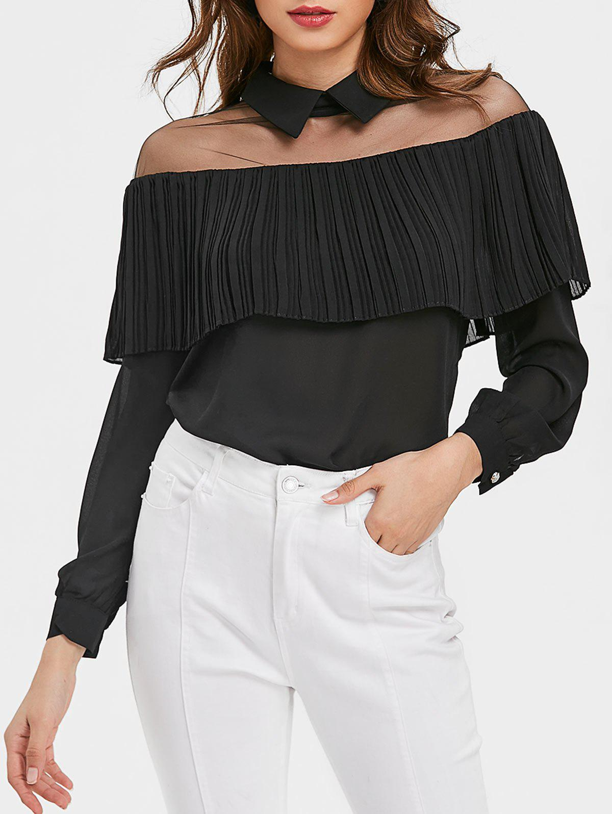 Semi Sheer Mesh Panel Ruffle Chiffon Blouse - BLACK XL