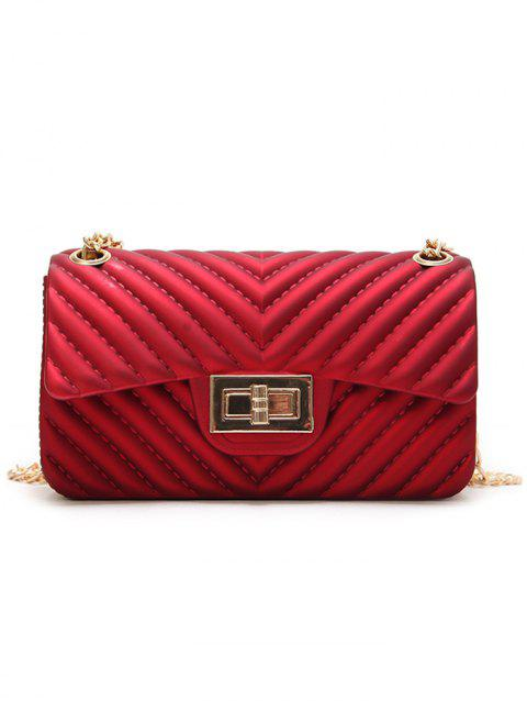 Stitches Quilted Twist Lock Crossbody Bag with Chain - RED