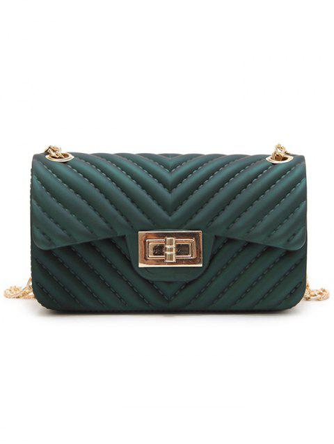 Stitches Quilted Twist Lock Crossbody Bag with Chain - GREEN