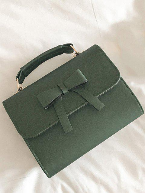Bowknot PU Leather Flapped Crossbody Bag - SPRING GREEN