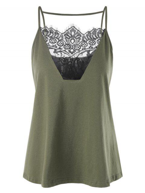 Lacy Embellished Summer Slip Top - ARMY GREEN XL