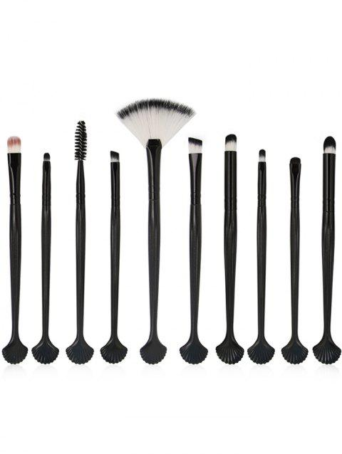 10Pcs Shell Shape Eyeshadow Eyebrow Blending Eye Makeup Brush Set - BLACK
