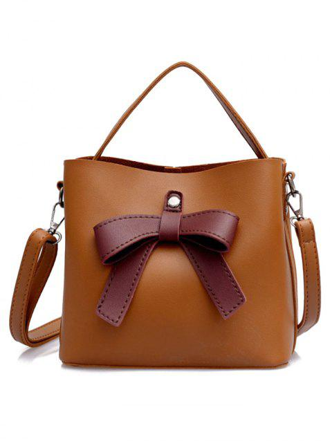 Bowknot PU Leather Top Handle Crossbody Bag - BROWN