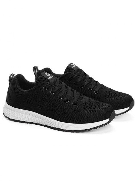 Sporty Breathable Low Top Sneakers - BLACK 36