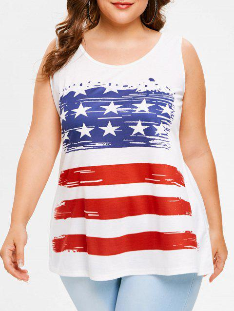 Plus Size USA Flag Tank Top - WHITE 5X