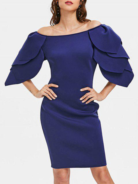 Petal Sleeve Fitted Occasion Dress - NAVY BLUE 2XL