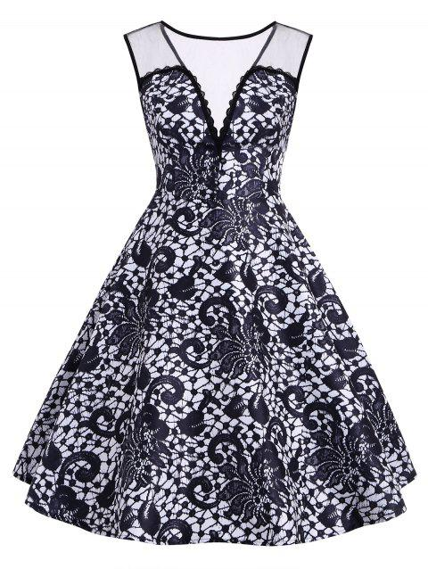 Lace Printed Sleeveless A Line Dress - MIDNIGHT BLUE L