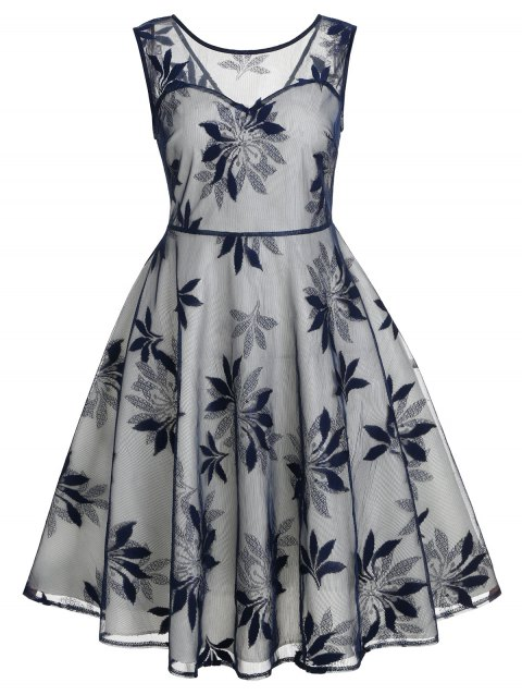 Leaf Pattern Sleeveless Retro Dress - DARK SLATE BLUE M