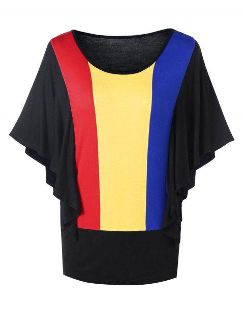Rainbow Color Butterfly Sleeves Tunic Tee - BLACK L