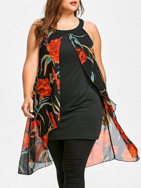 Plus Size Floral Printed Sleeveless Longline Blouse - BLACK 5X