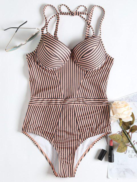 High Waisted Stripe One Piece Swimsuit - PINK M