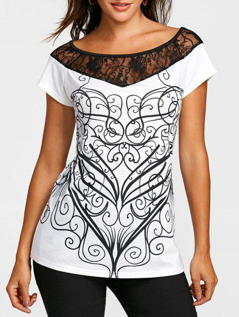 Lace Insert Summer Printed T-shirt - WHITE 2XL