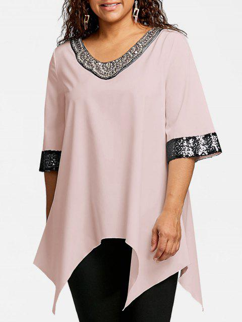 Plus Size Two Tone Sequined Embellished Blouse - LIGHT PINK XL
