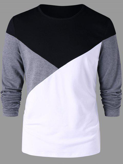 Crew Neck Color Block T-shirt - BLACK L