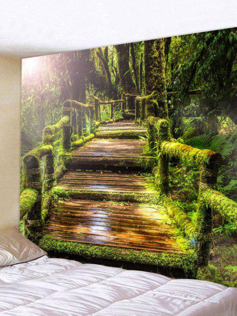 Forest Wood Bridge Green Vines Pattern Wall Decor Tapestry - SHAMROCK GREEN W91 INCH * L71 INCH