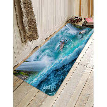 Dolphins Playing Print Nonslip Floor Rug - MACAW BLUE GREEN W24 INCH * L71 INCH