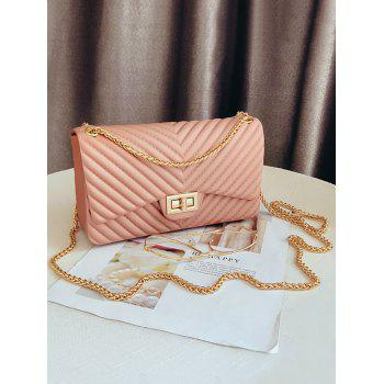 Stitches Quilted Twist Lock Crossbody Bag with Chain - PINK