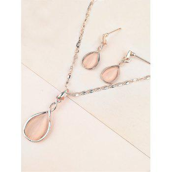 Faux Opal Alloy Teardrop Necklace and Earring Set - APRICOT