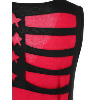Two Tone American Flag Tank Top - RED 2XL