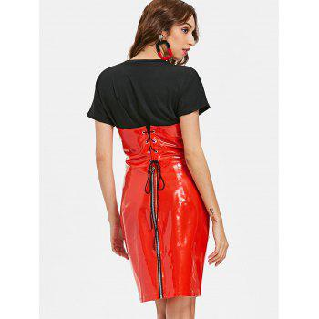 Lace Up PU Night Out Dress - RED S