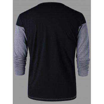 Crew Neck Color Block T-shirt - BLACK 2XL