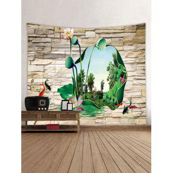 Lotus Rock Stone Wall Print Wall Art Tapestry - multicolor W79 INCH * L71 INCH
