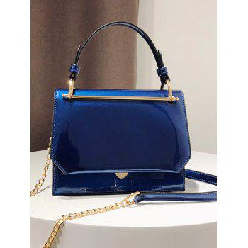 Bright PU Leather Metal Details Chain Strap Crossbody Bag - BLUE WHALE