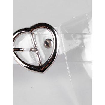 Statement Transparent Waist Belt with Metal Heart Buckle - TRANSPARENT