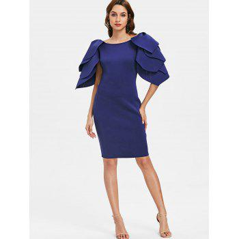 Petal Sleeve Fitted Occasion Dress - NAVY BLUE M
